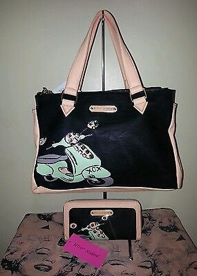 BETSEY JOHNSON BJ - EWELED SATCHEL /OVER THE SHOULDER PURSE  AND WALLET NWT