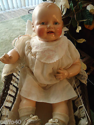 "Vintage Antique Baby Dimples Composition / Cloth  Doll Tin Eyes  21"" Tall 1920's"