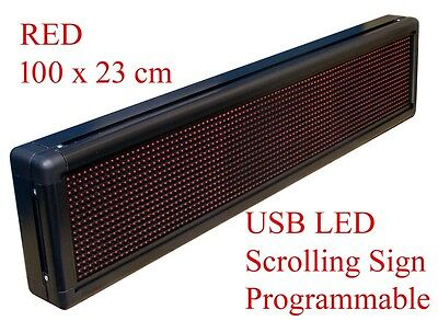 RED Programmable USB LED Message,Time Scrolling Digital Display Sign 100x22 cm R