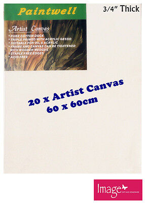 """20pcs Paintwell Artist Stretched Canvas 24x24"""" 3/4"""" Thick 330gsm - SCS-2424"""