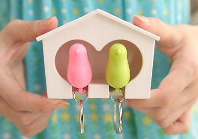 LOUS Lover Sparrow Key Ring Birdhouse Gadget Home Wall Hook Holder Keychain