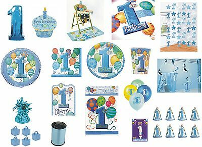 1st FIRST BIRTHDAY BOY PARTY TABLEWARE DECORATIONS BALLOONS BLUE BALLOON DESIGN