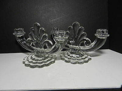 """Heisey Crystolite #1503 Double Light Candlestick 2 Clear Scalloped Base 8 5/8"""" W"""