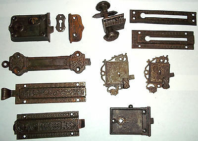 Lot Rare Antique Vintage Old Scroll Skeleton Key Door Locks Hardware Parts