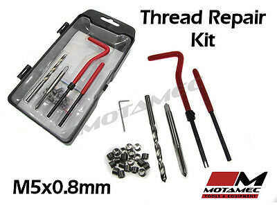 Motamec Tools M5 x 0.8mm Thread Repair Re thread helicoil insert Kit 25pc