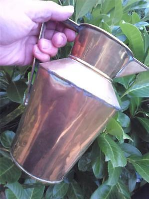 Old Vintage Brass Jug With Deco ? Shaped Handle