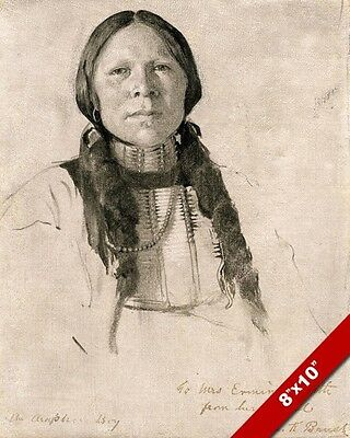 Arapahoe Native American Indian Boy Sketch Painting Art Real Canvas Giclee Print