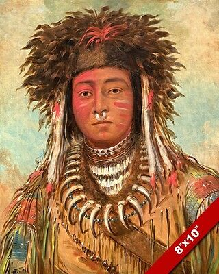 The Boy Chief Native American Indian Ojibbeway Painting Art Real Canvas Print