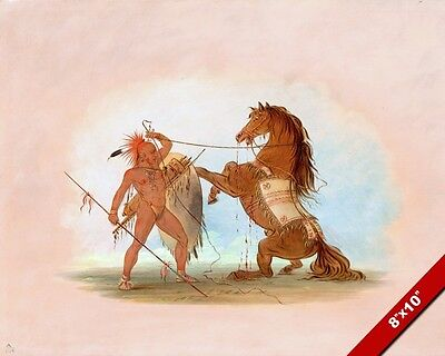 Native American Pawnee Indian Sacrificing A Horse Painting Art Real Canvas Print