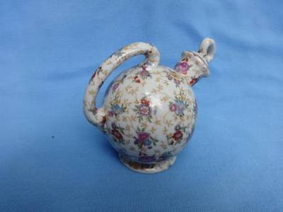"""Vintage Chintz Bottle Decanter With Handle & Stopper Japan 4"""" Tall Blue + Rose"""
