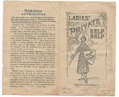 "1910 Advertising Brochure "" Ladies Private Self Help ""  Vaginal Syringe"