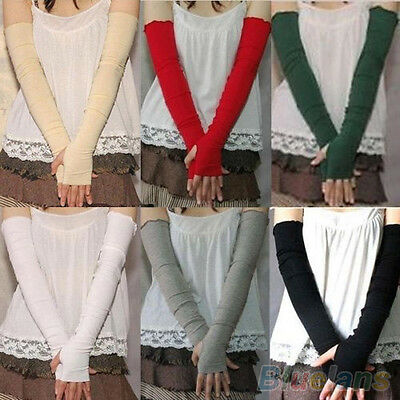 Women Cool Chic Cotton UV Protection Arm Warmer Long Fingerless Gloves Sleeves