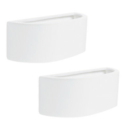 Pair of Modern Curved White Ceramic Up & Down Planter Style Indoor Wall Lights