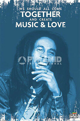 BOB MARLEY COME TOGETHER CREATE MUSIC & LOVE POSTER (61x91cm)  PICTURE PRINT NEW