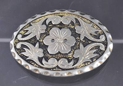 Vintage Flower Leaf Belt Buckle Silver Tone Oxidation Design About 3 1/4""