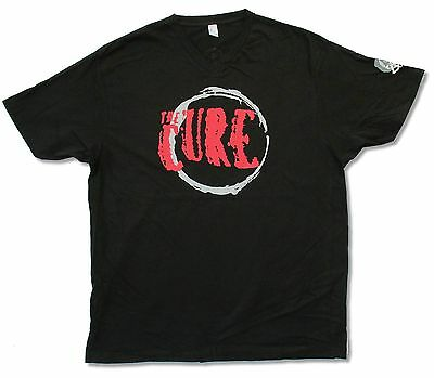 """Cure Great Circle Logo"""" Black V-Neck T-Shirt New Official Adult Band Tour"""