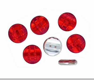 10 BOUTONS FANTAISIES ACRYLIQUE STRASS ROUGE 15x6mm -  COUTURE SCRAPBOOKING