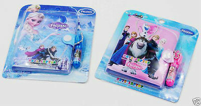 Frozen Elsa Anna Book Pen set Pink Blue  UK SELLER     with FREE sticker sheet