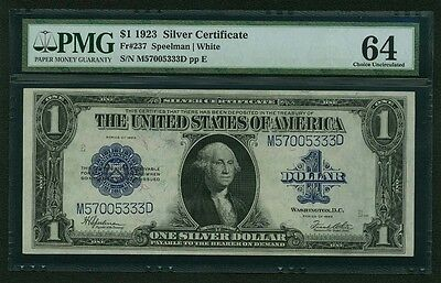 1923 $1 SILVER CERTIFICATE BANKNOTE FR-237, CERTIFIED PMG CHOICE UNCIRCULATED-64