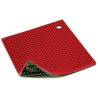 """Norpro Potholder/Trivet 8"""" x 8"""" Red Black Silicone Flexible Protects Table 403R"""