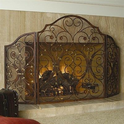 """Provincial Scroll Old World French Tuscan Classic Fireplace Fire Screen 53.5""""W"""