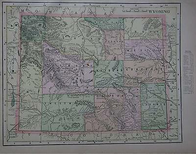 1901 Wyoming Antique Color Atlas Map**  Indexed w/ Population . .118 Years-Old!