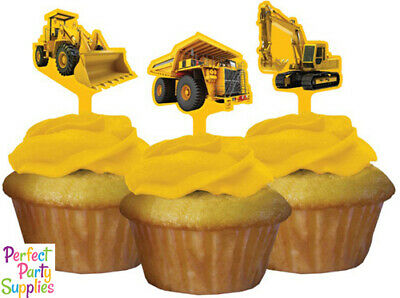 Construction Zone Cupcake Toppers Decorations 12pk Birthday Party Supplies Truck