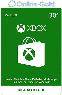 Xbox Live Card - 30 Euro Microsoft Guthaben - ms Xbox 360 / Xbox One Live Card