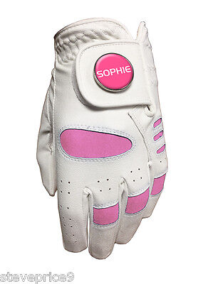 "New Girls Junior Golf Glove. White / Pink. Size Large. "" Sophie "" Ball Marker."
