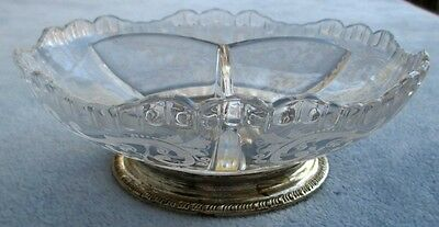 Cambridge Crystal Chantilly Etch 3 Part Relish With Sterling Silver Base