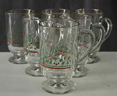 (1 glass) Vintage Arby's Christmas Holly & Berries Footed Coffee Mug Gold Rim