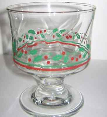 Arby's Christmas Holly & Berries Collection Footed Sherbet Dessert Gold Rim