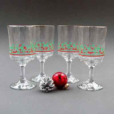 (1 GLASS) Arby's Holly & Berries Stemmed Wine or Water Goblet with Gold Rim
