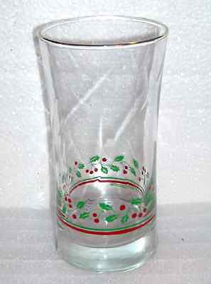 Arby's Holly & Berries Collection Tumbler Glass with Flare Top and Gold Rim