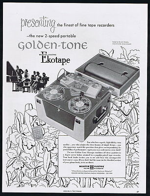 1953 Webster Electric Tape Recorder Two Speed Portable Vintage Print Ad
