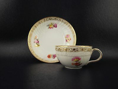 Beautiful Antique KPM Porcelain Cup & Saucer Hand Painted Flowers Gold Decorated