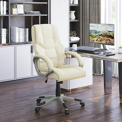 Leather Office Chair PC Computer Desk Chairs Swivel Adjustable High Back