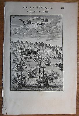 MALLET: View of Angra do Heroísmo Azores - 1683