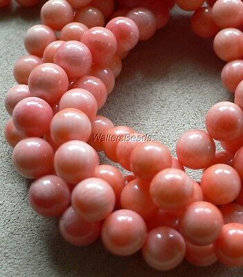 "Natural Coral Bead Strands Angelskin Peach Pink 8 MM 16"" Wholesale (5 Strands)"
