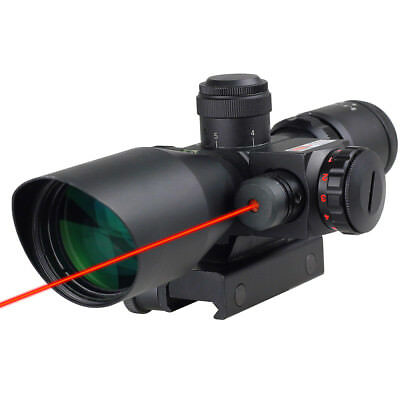 Tactical 2.5-10X 40 Mid-Dot Reticle Red Laser Sight Rifle Scope W/ Mount