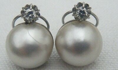 ANTIQUE 18 CARAT GOLD 14mm MABE PEARL & DIAMOND PLATINUM EARRINGS