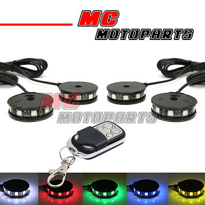 RGB Wheel Pod LED Light x4 w/Remote Kit For Suzuki Boulevard M109R M50 C90 S40