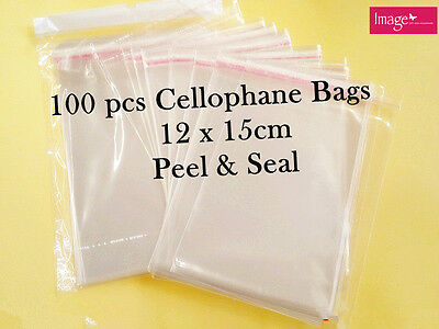 100 Clear Cellophane Cello Bags Self Adhesive Peel & Seal Bag 12x15cm PA025x2