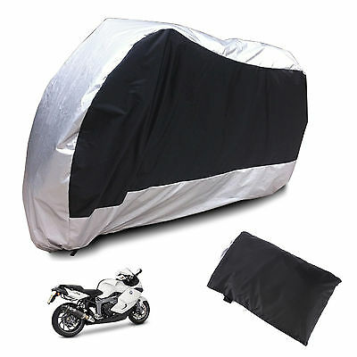 Silver Motorcycle Waterproof Outdoor Protective Motorbike Moped Rain Bike Cover