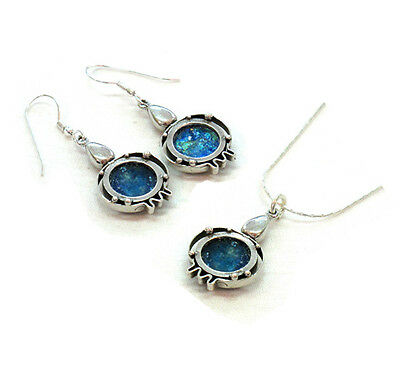 NEW 925 Sterling Silver & Ancient Roman Glass Pomegranate Necklace & Earrings