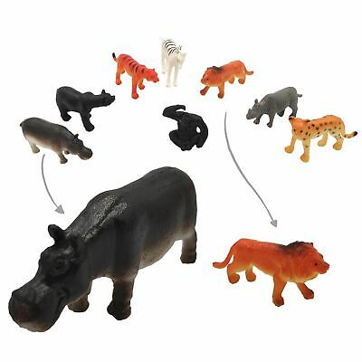12 Plastic Jungle Zoo Figure Wild Animals Childrens Christmas Toy Party Stocking