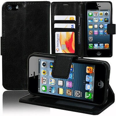 Etui Coque Housse Portefeuille Support Video Cuir NOIR Apple iPhone 5/ 5S