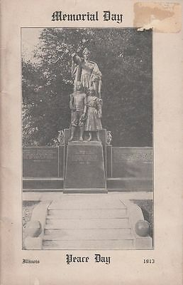 1913 Memorial & Peace Day Illinois Instructional Educational Booklet Illustrated