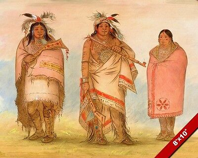 Native American Indian Family Chief Wife & Son Painting Art Real Canvas Print