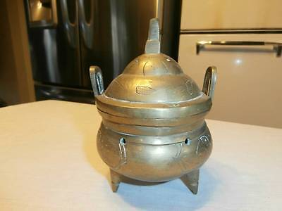 VTG UNIQUE 4 PC SOLID BRASS INCENSE BURNER FOOTED HANDLED SIGNED CHINESE